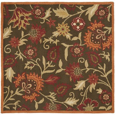 Bradwood Hand-Woven Wool Brown/Orange Area Rug Rug Size: Square 6