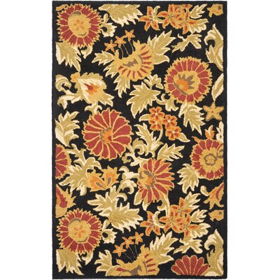 Bradwood Hand-Woven Wool Black Area Rug Rug Size: Rectangle 3 x 5