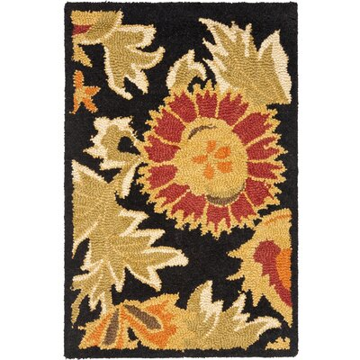 Bradwood Hand-Woven Wool Black Area Rug Rug Size: Rectangle 2 x 3
