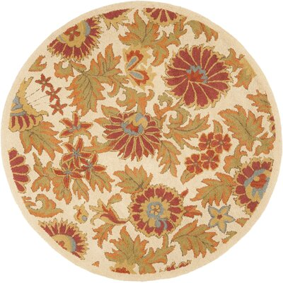 Bradwood Hand-Woven Wool Ivory/Red Area Rug Rug Size: Round 4