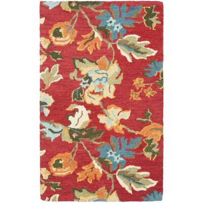 Bradwood Floral Red / Multi Contemporary Rug Rug Size: Rectangle 26 x 4