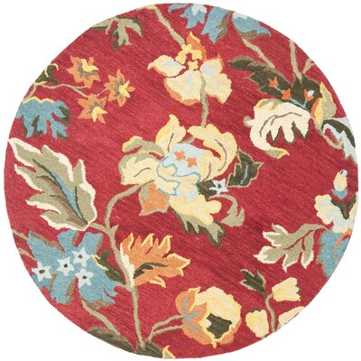 Bradwood Floral Red / Multi Contemporary Rug Rug Size: Round 6