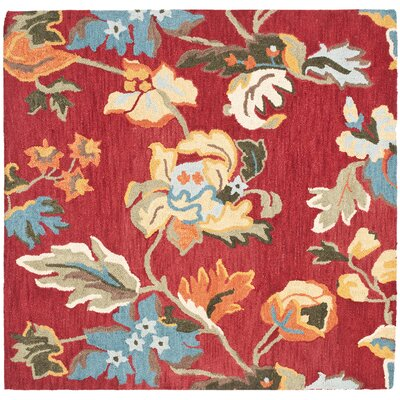 Bradwood Floral Red / Multi Contemporary Rug Rug Size: Square 6'
