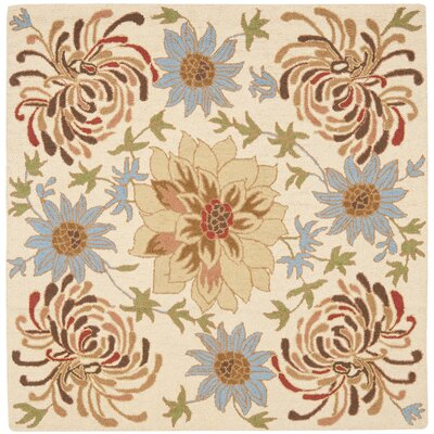 Bradwood Hand-Hooked Beige / Multi Contemporary Rug Rug Size: Square 6