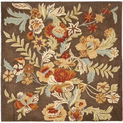 Bradwood Brown Floral Area Rug Rug Size: Square 6