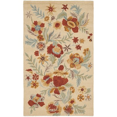 Bradwood Beige Flower Area Rug Rug Size: 5 x 8