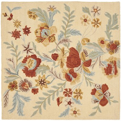 Bradwood Beige Flower Area Rug Rug Size: Square 6