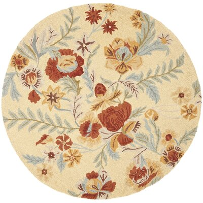 Bradwood Beige Flower Area Rug Rug Size: Round 6