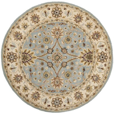 Dunbar Hand-Woven Wool Light Blue/Ivory Area Rug Rug Size: Round 6