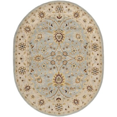 Dunbar Hand-Woven Wool Light Blue/Ivory Area Rug Rug Size: Oval 76 x 96