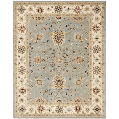 Dunbar Hand-Woven Wool Light Blue/Ivory Area Rug Rug Size: Rectangle 76 x 96