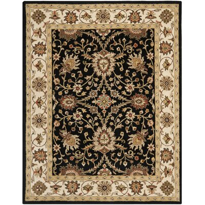 Dunbar Hand-Woven Wool Black Area Rug Rug Size: Rectangle 5 x 8