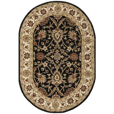 Dunbar Hand-Woven Wool Black Area Rug Rug Size: Oval 46 x 66