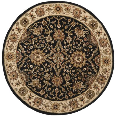 Dunbar Hand-Woven Wool Black Area Rug Rug Size: Round 8