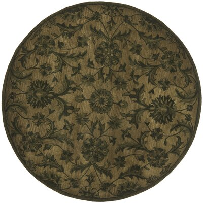 Dunbar Hand-Woven Wool Olive/Green Area Rug Rug Size: Round 6