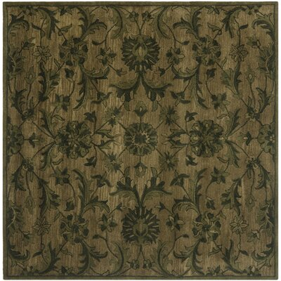 Dunbar Hand-Woven Wool Olive/Green Area Rug Rug Size: Square 6