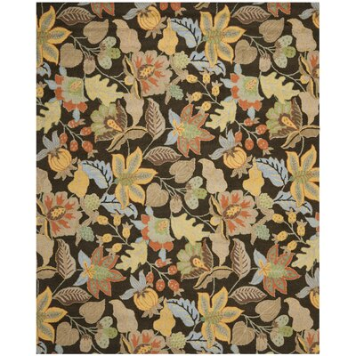Bradwood Black Floral Area Rug Rug Size: Rectangle 8 x 10
