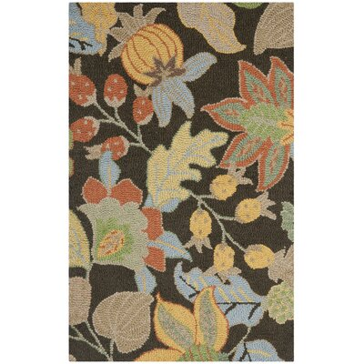 Bradwood Black Floral Area Rug Rug Size: Rectangle 26 x 4