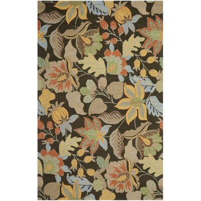 Bradwood Black Floral Area Rug Rug Size: 4 x 6