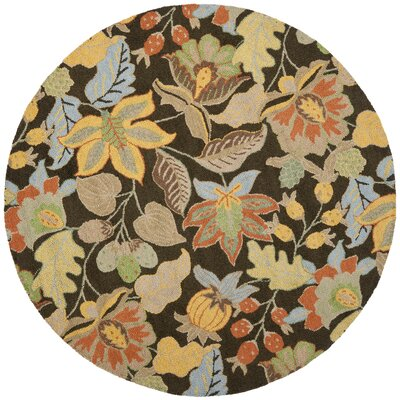 Bradwood Black Floral Area Rug Rug Size: Round 6