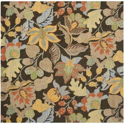 Bradwood Black Floral Area Rug Rug Size: Square 6
