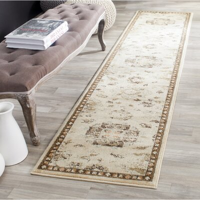 Lavelle Ivory / Brown Area Rug Rug Size: Runner 2 x 8
