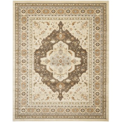 Lavelle Ivory / Brown Area Rug Rug Size: 51 x 77