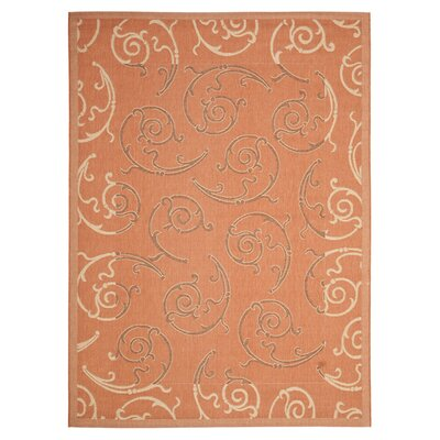Octavius Terracotta/Cream Indoor/Outdoor Rug Rug Size: 67 x 96