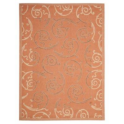 Octavius Terracotta/Cream Indoor/Outdoor Rug Rug Size: 67 x 96