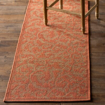 Alderman All Over Ivy Terracota Indoor/Outdoor Area Rug Rug Size: Runner 24 x 911
