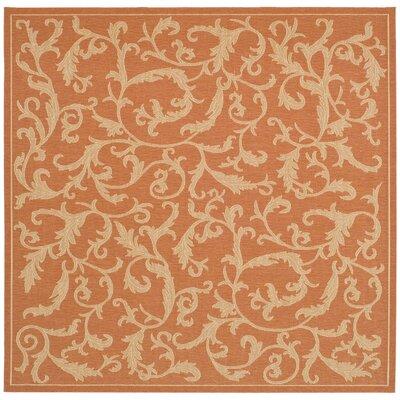 Octavius All Over Ivy Terracota Indoor/Outdoor Area Rug Rug Size: Square 710