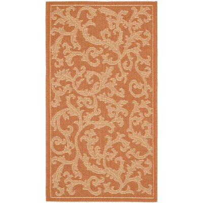 Octavius All Over Ivy Terracota Indoor/Outdoor Area Rug Rug Size: Rectangle 4 x 57