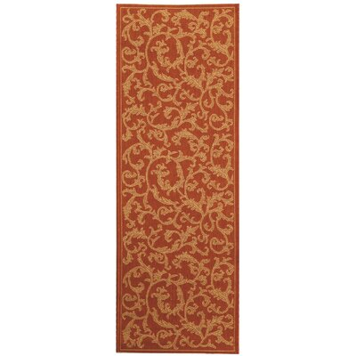 Octavius All Over Ivy Terracota Indoor/Outdoor Area Rug Rug Size: Runner 23 x 14