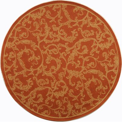 Octavius All Over Ivy Terracota Indoor/Outdoor Area Rug Rug Size: Round 710