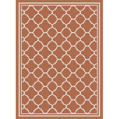 Octavius Orange Outdoor Area Rug Rug Size: 53 x 77