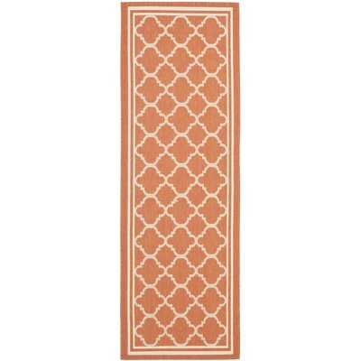 Alderman Terracotta & Bone Outdoor Area Rug Rug Size: Runner 27 x 5