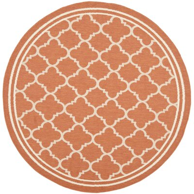 Octavius Orange Outdoor Area Rug Rug Size: Round 53