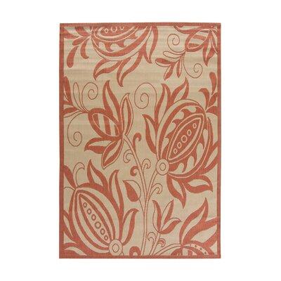 Alderman Natural / Red Outdoor Area Rug Rug Size: 4 x 57