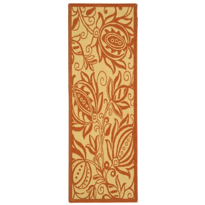 Octavius Natural / Red Outdoor Area Rug Rug Size: Runner 24 x 67