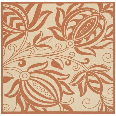 Octavius Natural / Red Outdoor Area Rug Rug Size: Square 67
