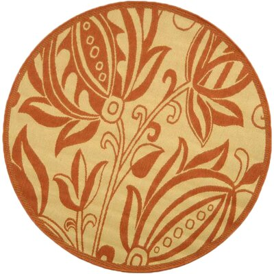 Octavius Natural / Red Outdoor Area Rug Rug Size: Round 53