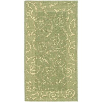 Alberty Indoor/Outdoor Maribelle Olive Area Rug Rug Size: Rectangle 53 x 77