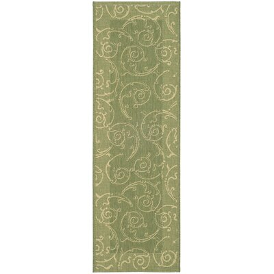 Alberty Indoor/Outdoor Maribelle Olive Area Rug Rug Size: Runner 24 x 67