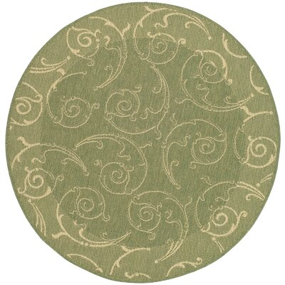 Alberty Indoor/Outdoor Maribelle Olive Area Rug Rug Size: Round 53
