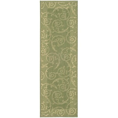 Alberty Indoor/Outdoor Maribelle Olive Area Rug Rug Size: Runner 23 x 12