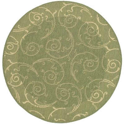 Alberty Indoor/Outdoor Maribelle Olive Area Rug Rug Size: Round 710