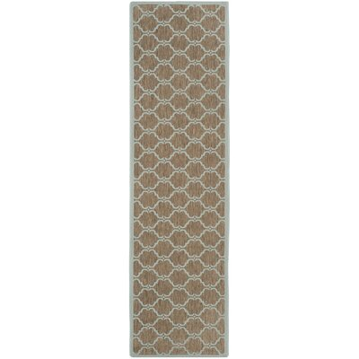 Octavius Brown/Aqua Indoor/Outdoor Area Rug Rug Size: Rectangle 27 x 5