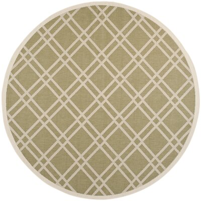 Octavius Green/Beige Indoor/Outdoor Area Rug Rug Size: Round 710