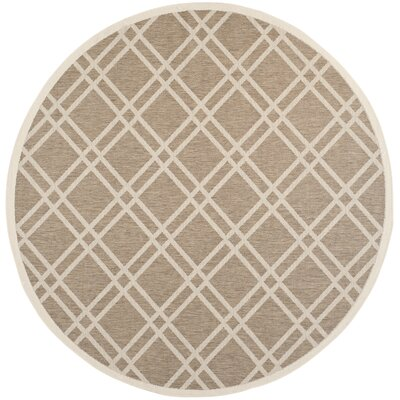 Alderman Brown/Bone Indoor/Outdoor Area Rug Rug Size: Round 710