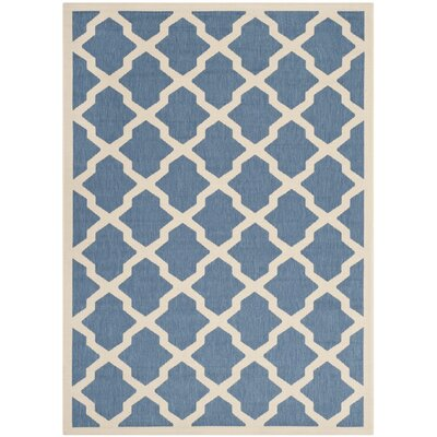 Octavius Blue/ Beige Indoor/Outdoor Area Rug Rug Size: Rectangle 2 x 37